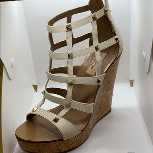 Authentic Valentino elegant cage spikes cork heels